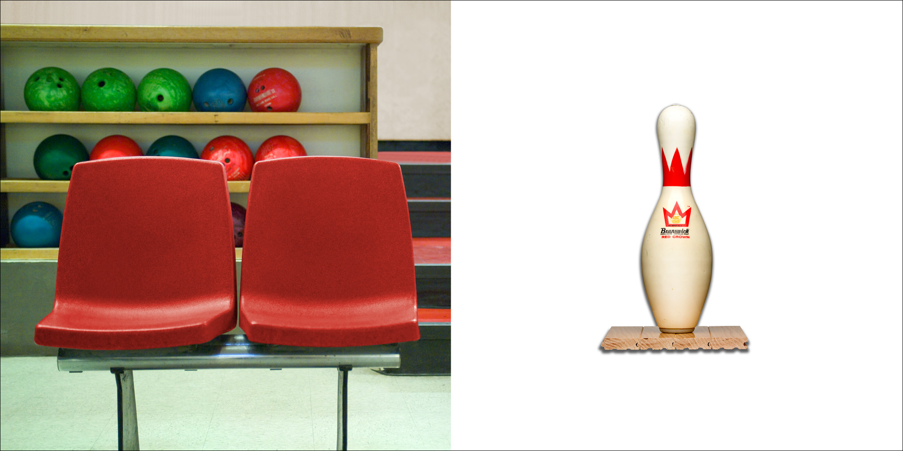 Bowling Pin & Red Chairs