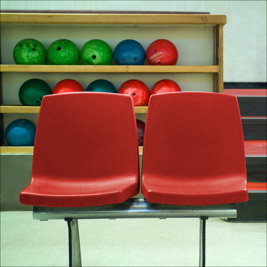 Pair Of Red Bowling Chairs