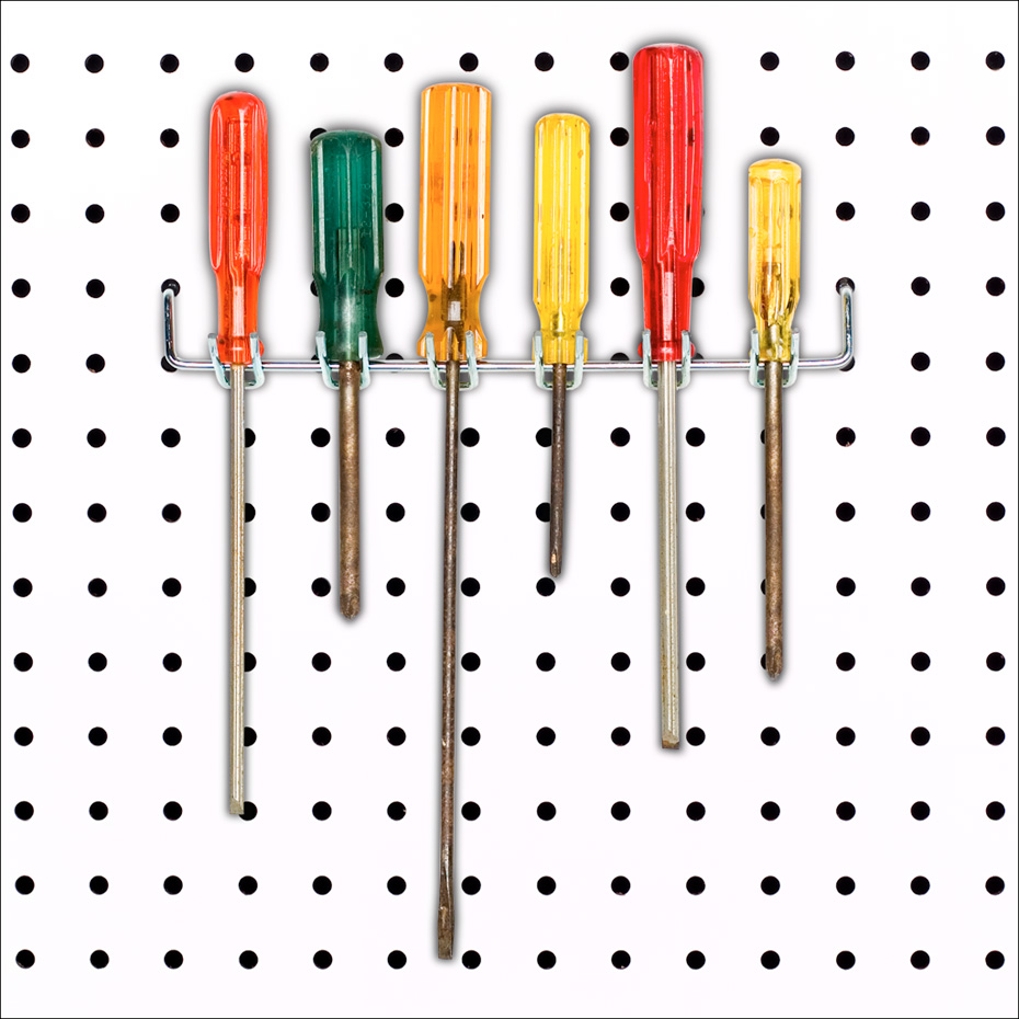 Screwdrivers on pegboard
